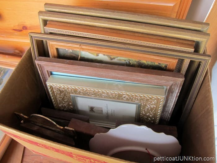 box of frames and prints auction find Petticoat Junktion