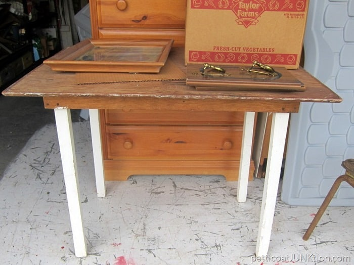 rustic table auction find Petticoat Junktion