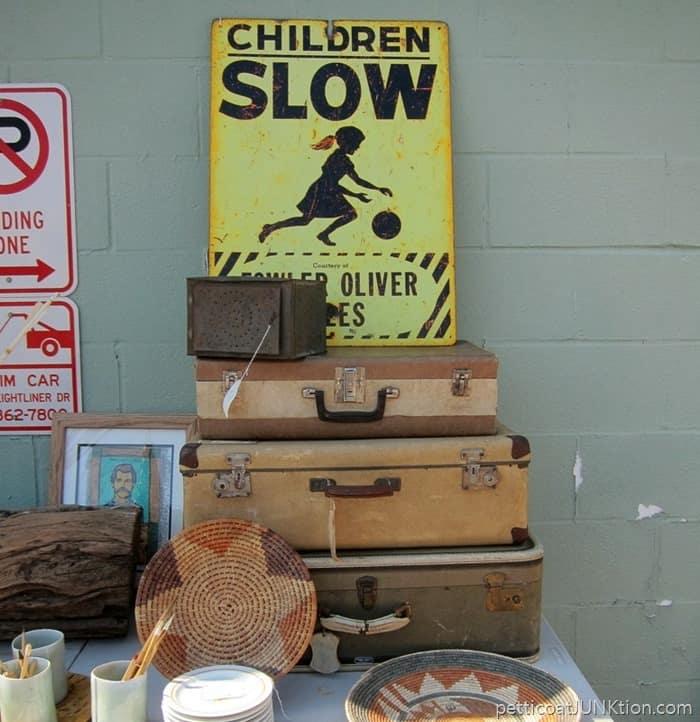 vintage luggage Petticoat Junktion Nashville Flea Market Shopping Trip