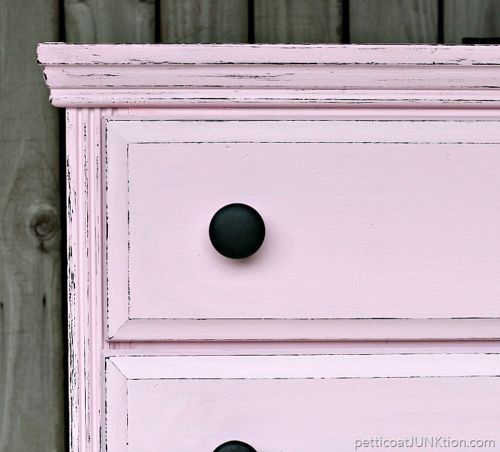 pink painted furniture. distressed furniture edges petticoat junktion black and pink project painted