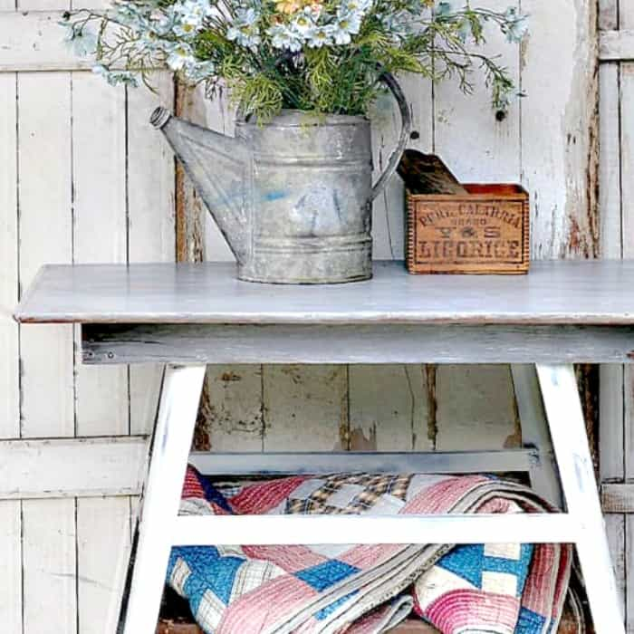 how to DIY a gray weathered wood paint finish