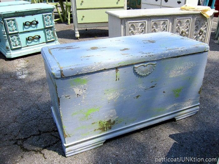 Nashville Flea Market Furniture Finds, blue cedar chest