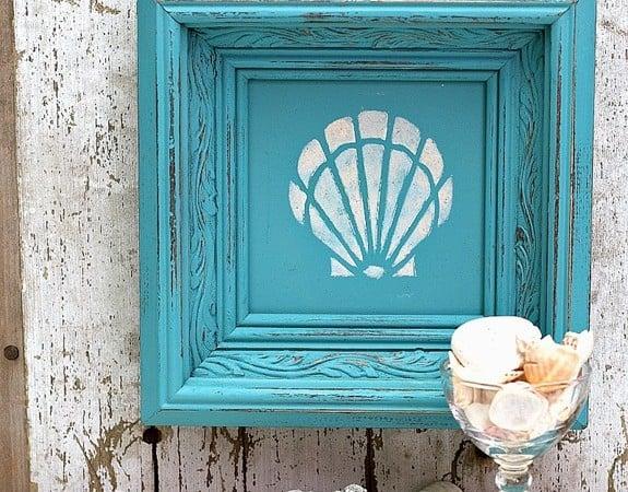 seashell-framed-art-stencil-design-in-turquoise-frame-1-Petticoat-Junktion.jpg