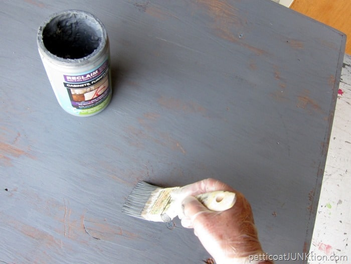 weathered wood gray finish tutorial Petticoat Junktion Reclaim Beyond Paint