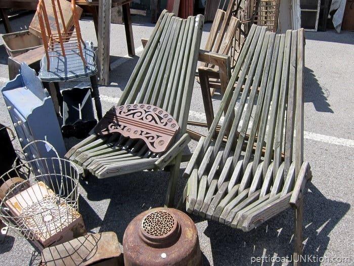 wood patio chairs Petticoat Junktion Nashville Flea Market Trip