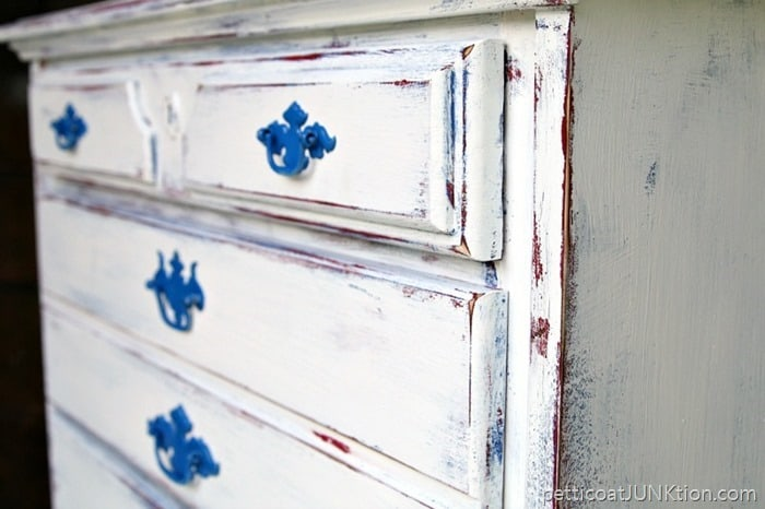 Layered Paint Project red whtie blue Petticoat Junktion furniture makeover