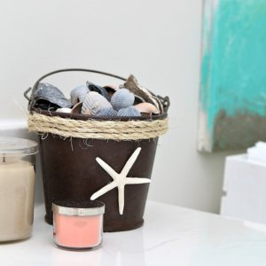 Sisal Rope Wrapped Rusty Starfish Seashell Bucket