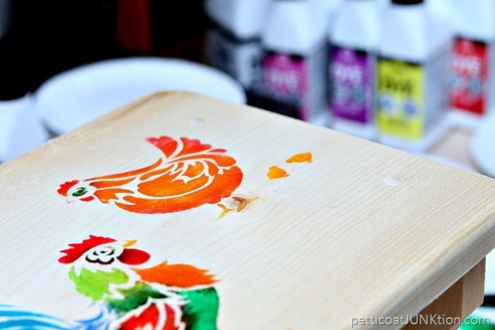 Stenciled Roosters and Chickens Petticoat Junktion FolkArt Ultra DYE project