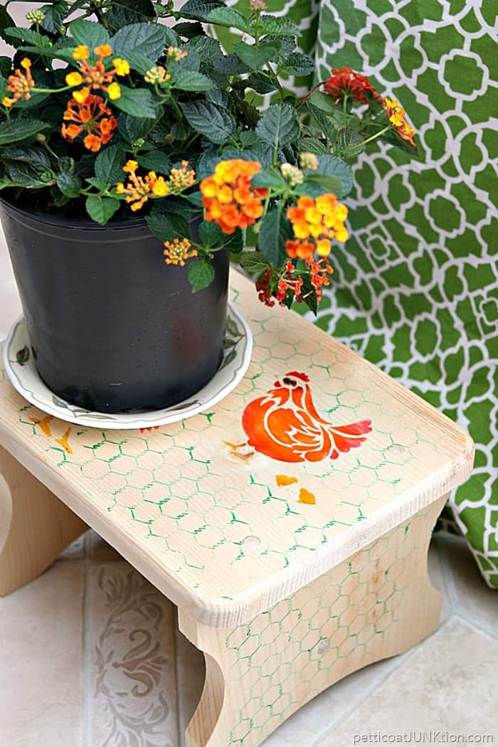 Stenciled Step Stool Is Something To Crow About Petticoat Junktion FolkArt Ultra Dye Stenciled Step Stool project