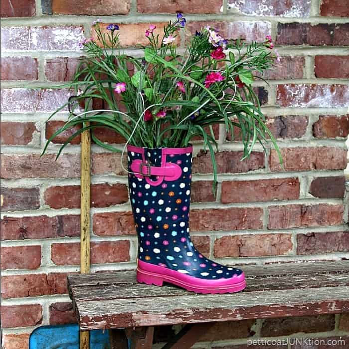 rain boot flower display Petticoat Junktion