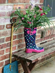 rain boot flower display