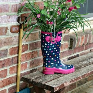 rain boot flower display