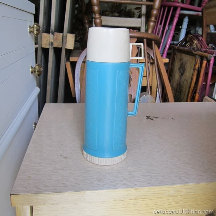vintage turquoise thermos Petticoat Junktion flea market find