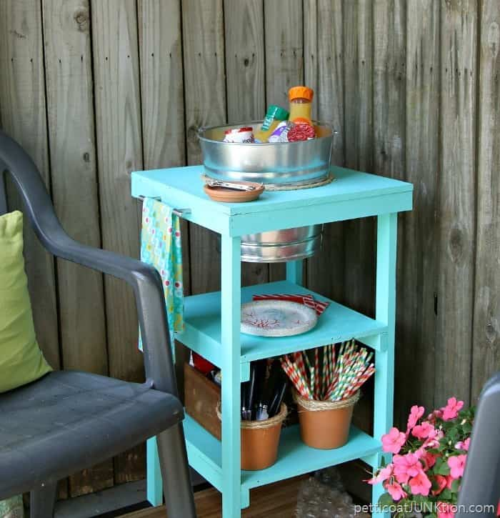 DIY Beverage Station Home Depot DIH Workshop project Petticoat Junktion Virtual Party