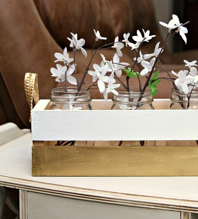 Simple Wood Crate Painted Metallic Gold And White