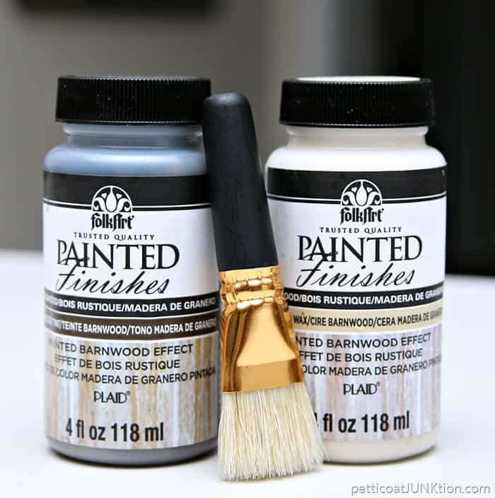 FolkArt Painted Finishes Barnwood Effect and Barnwood Wax Project by Petticoat Junktion