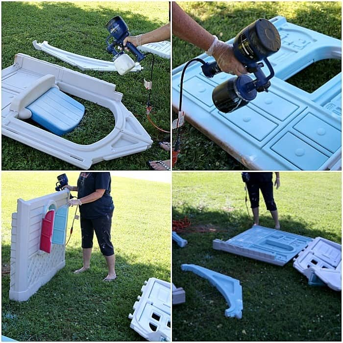 HomeRight spray painter project Petticoat Junktion painting a Little Tikes Playhouse