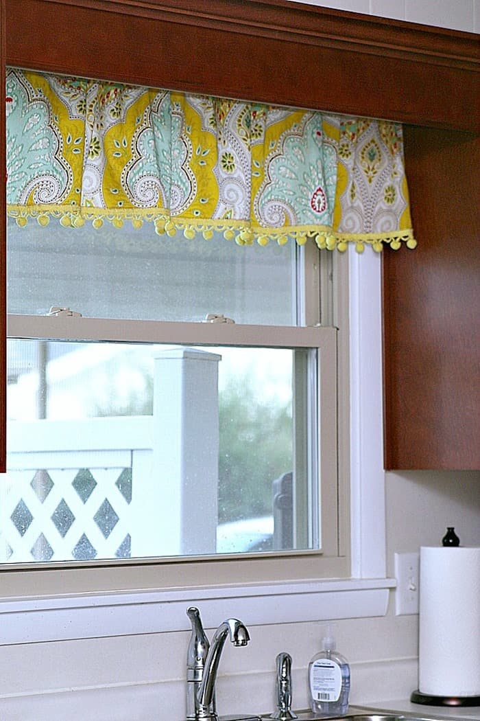 Kitchen Curtain Valance with Yellow Pom Pom Fringe 2