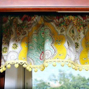 Kitchen Curtains With Cheery Yellow Pom Pom Fringe