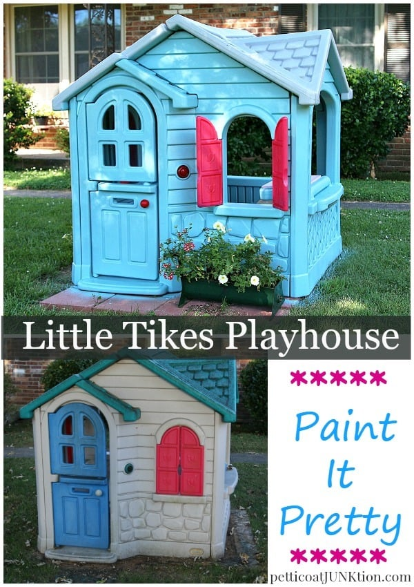 Little Tikes Playhouse Extreme Paint Makeover Petticoat Junktion How To Paint Little Tikes Playhouse Girls Edition