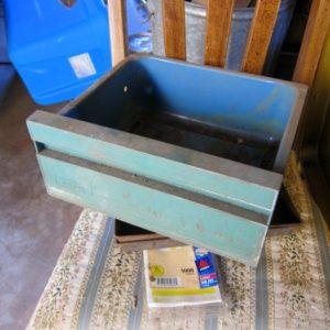 Vintage Turquoise Metal Bin | Junk Find