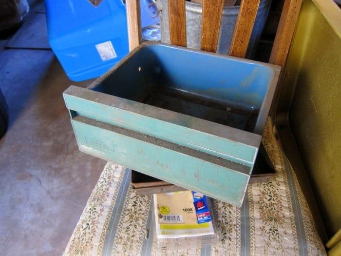 Vintage Green & Blue Metal Bin Junk Find Petticoat Junktion