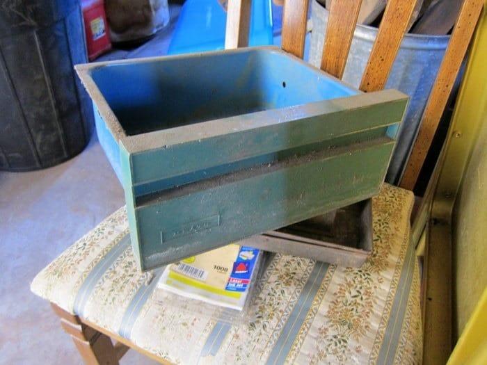 Vintage Turquoise Metal Bin Junk Find