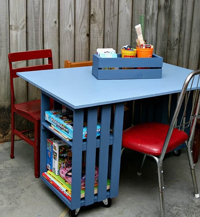 diy project kids crate table workstation Petticoat Junktion