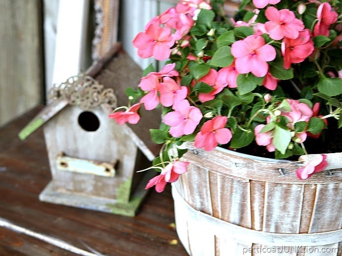dry brush white paint Petticoat Junktion flower basket and birdhouse
