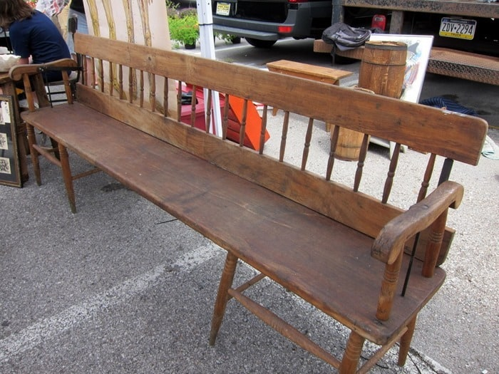 extra long wood bench Nashville Flea Market Petticoat Junktion