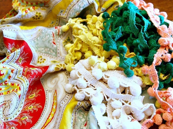 fabric and yellow pom pom fringe for curtains
