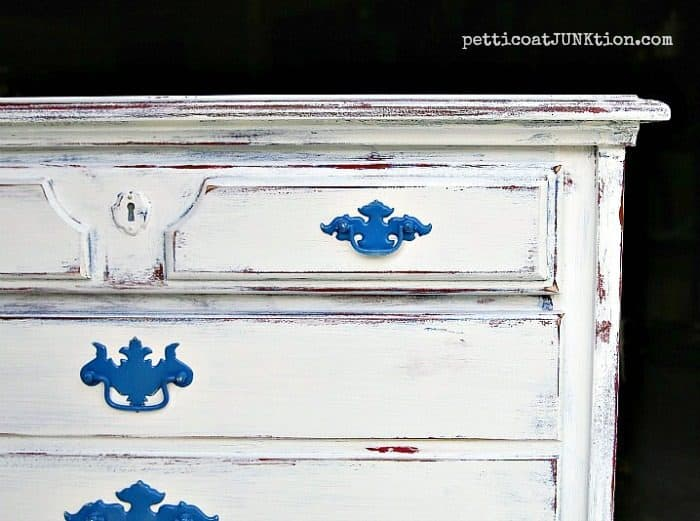 red whtie blue Petticoat Junktion furniture makeover layering paint technique 2
