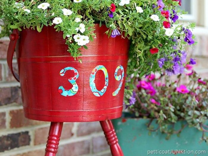 House Address on porch planter Petticoat Junktion