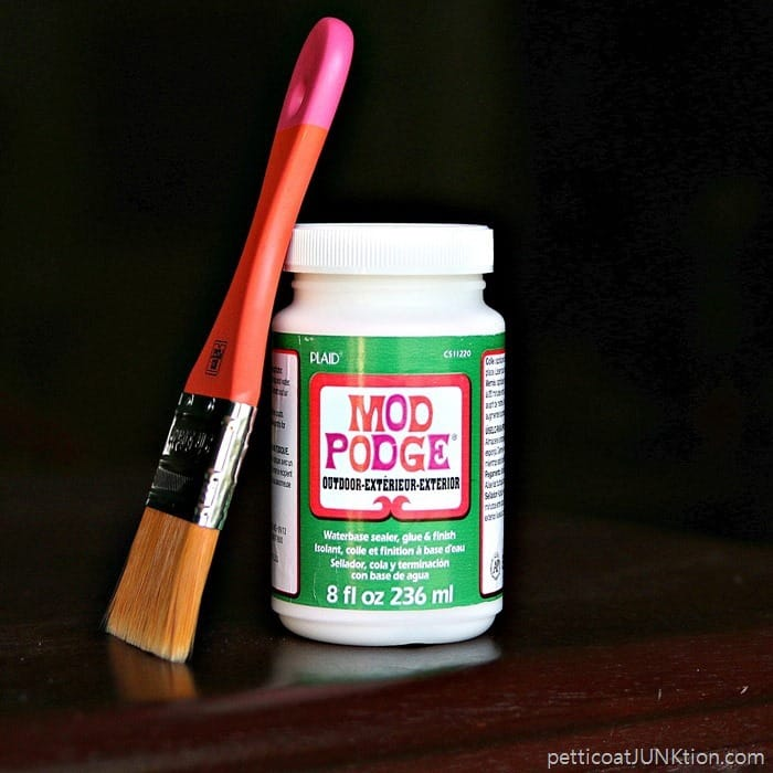 Outdoor Mod Podge formula Petticoat Junktion decoupage project