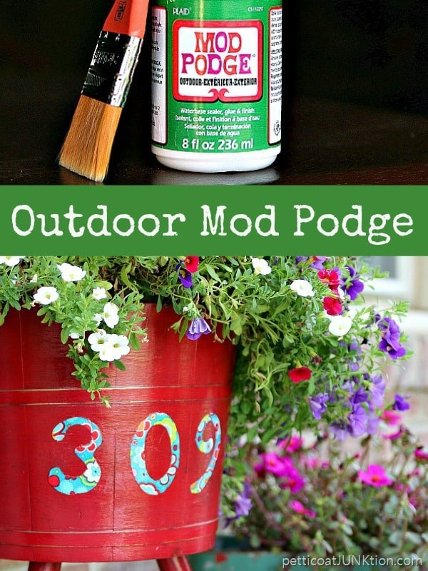 Mod Podge Decoupaged Outdoor PlanterAdds Curb Appeal