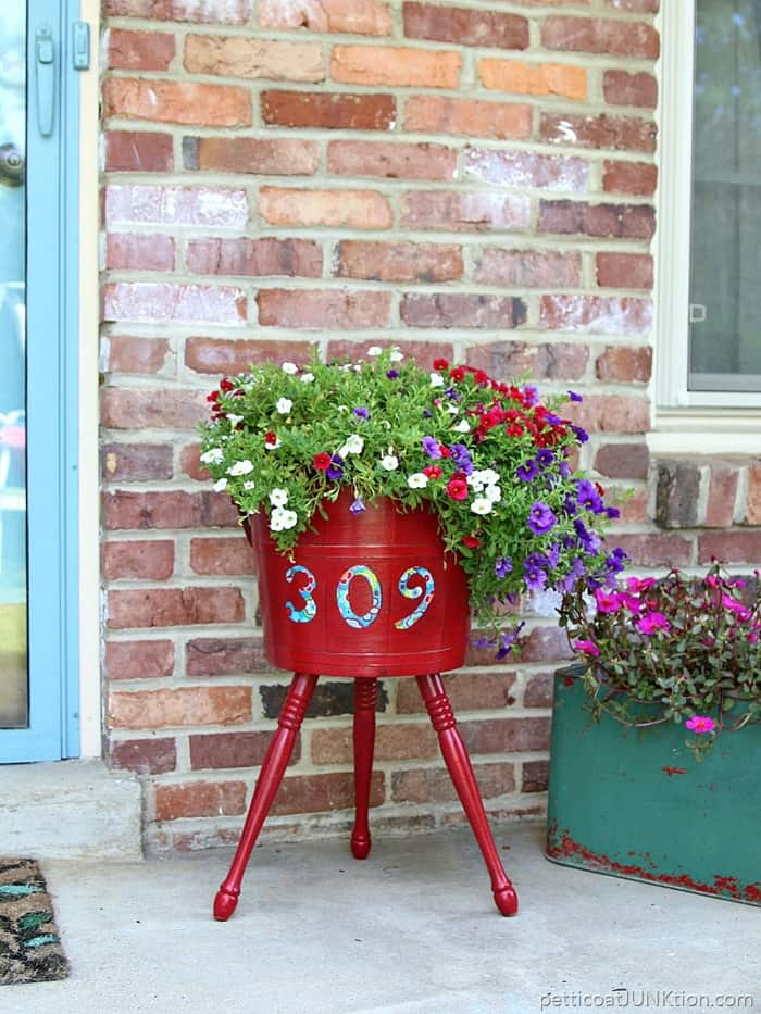 Regal Red Decoupage Planter Adds Curb Appeal Petticoat Junktion