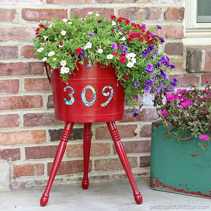 Regal Red Decoupage Planter Adds Curb Appeal