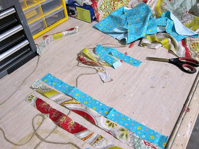 cutting fabric strips for garland