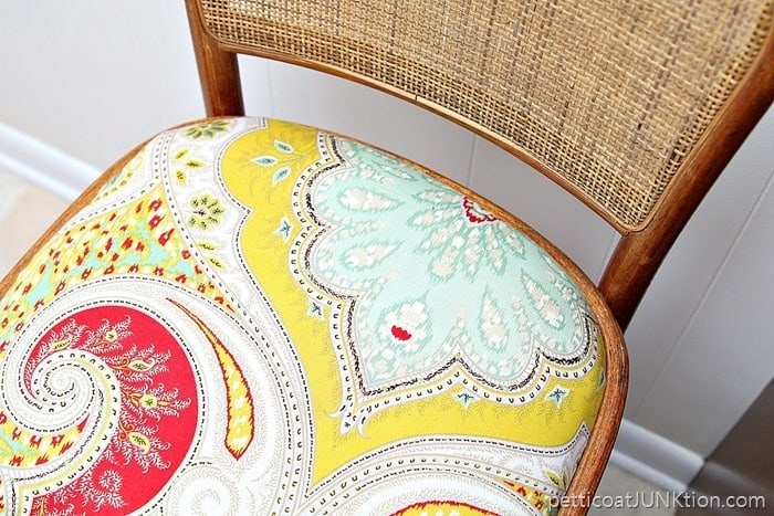 fabric from the thrift store Petticoat Junktion bar stool covered seat