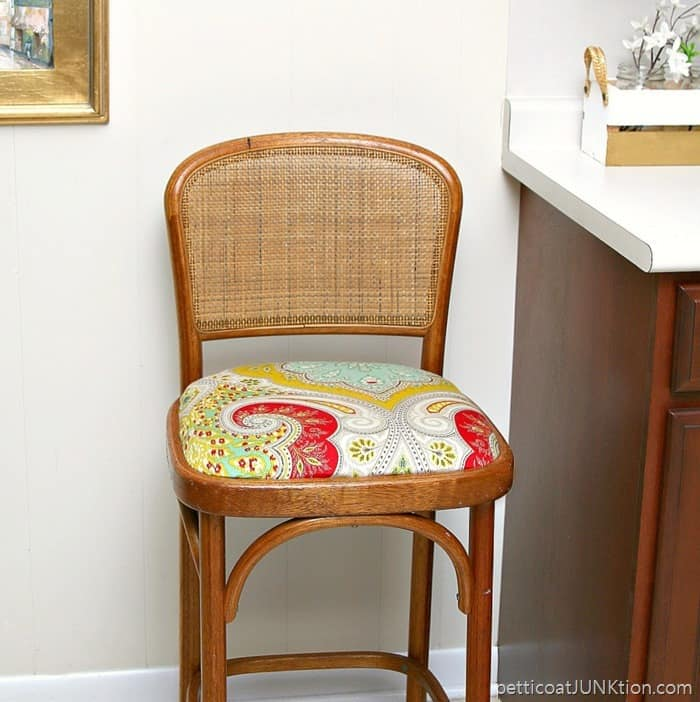 Recovered Bar Stool Seat Using A Fabric Shower Curtain Fabric
