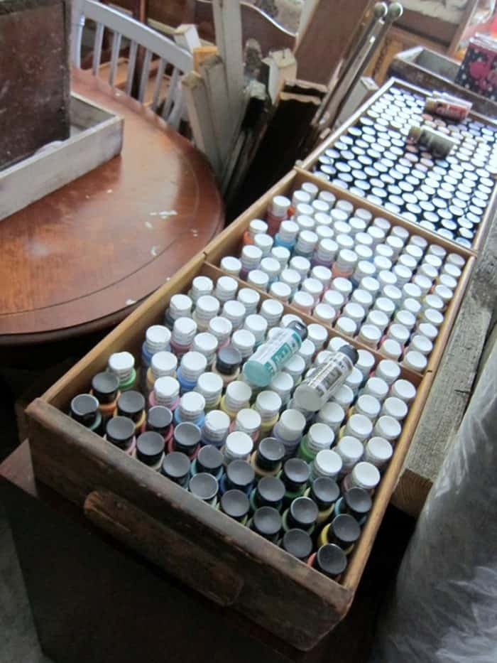 storing small bottles of acrylic paint Petticoat Junktion