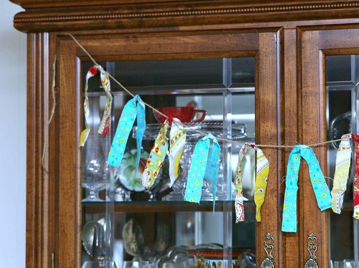 turquoise and red fabric garland Petticoat Junktion