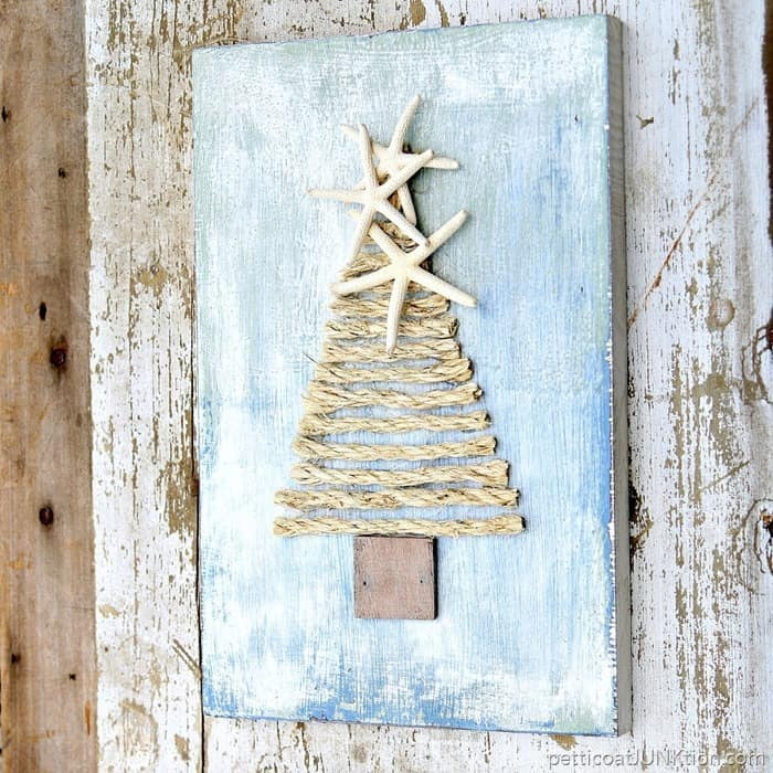 Sample Christmas Tree Decorating Ideas: Make A Sisal Rope Tree Topped With Starfish