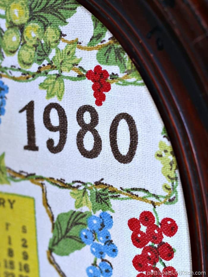 Reclaimed vintage fabric calendar framed upcyle Petticoat JUnktion