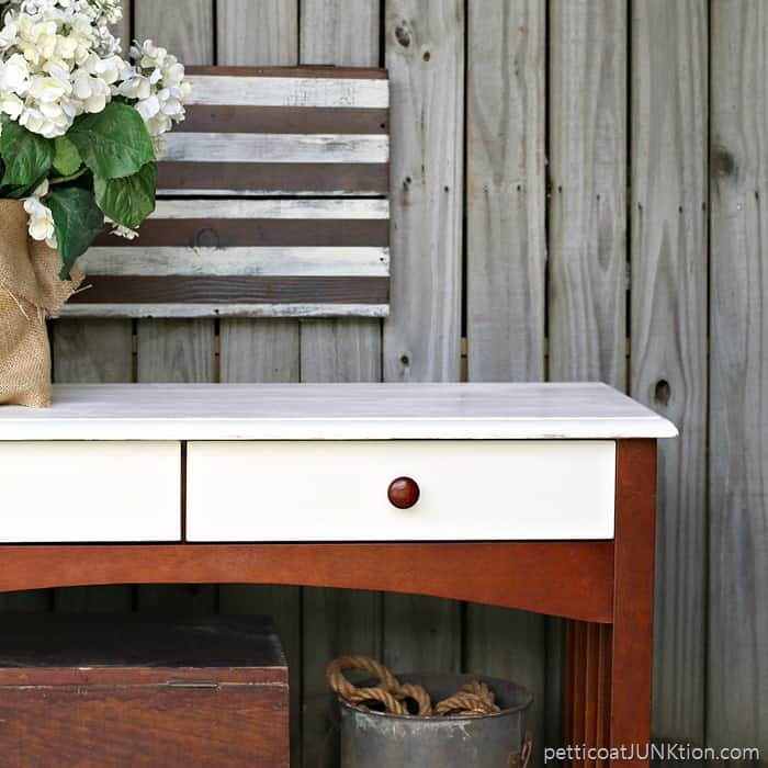 White And Brown Sofa Console Table West Elm Inspired Petticoat Junktion