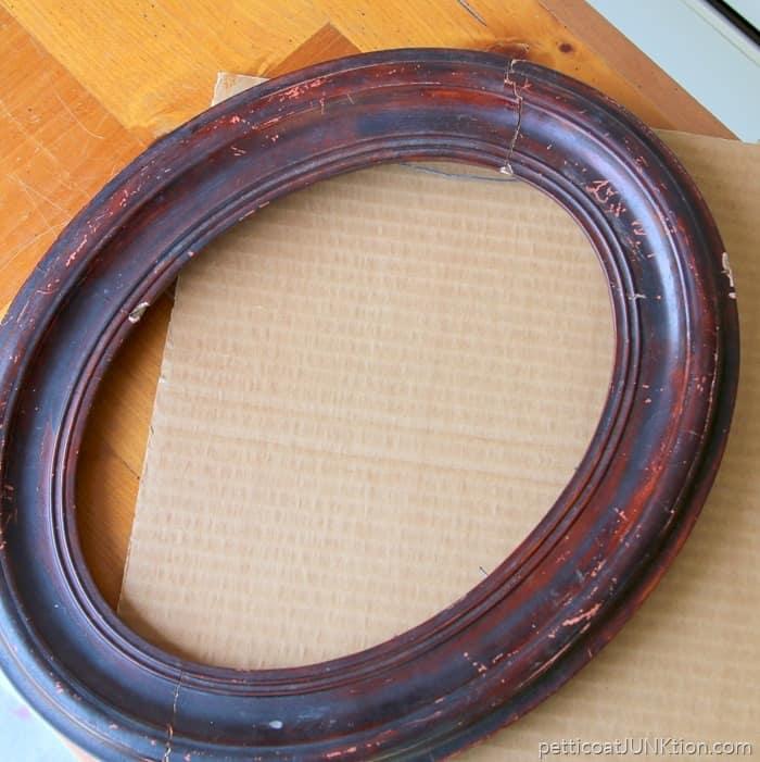 antique oval wood frame