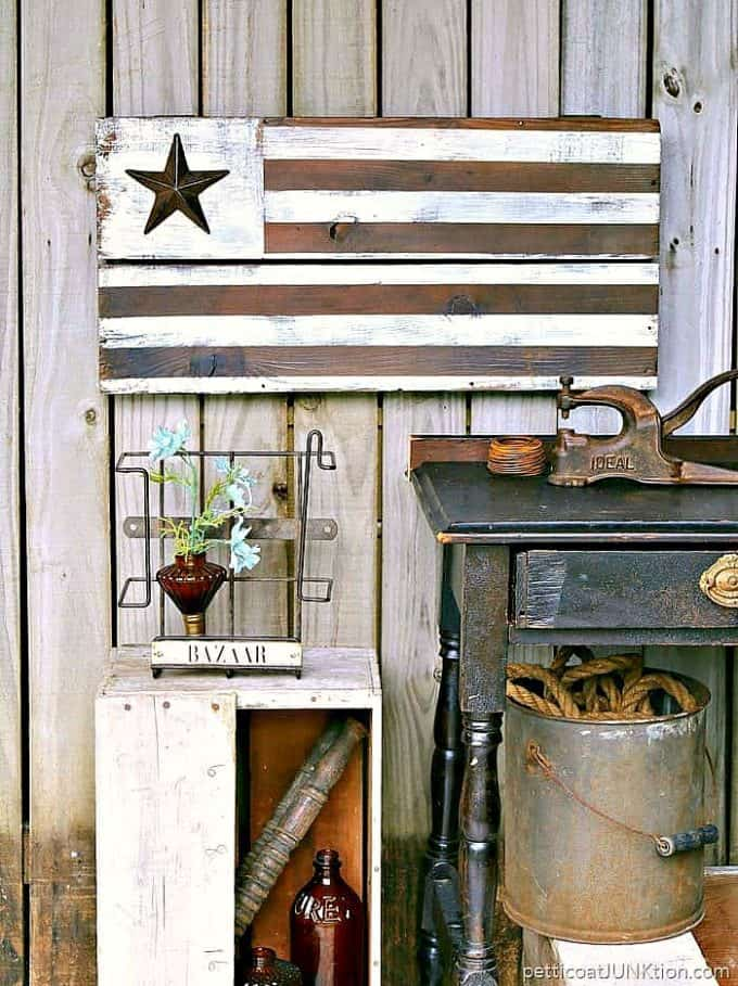 farmhouse style American flag, rustic wood flag