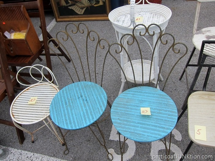 pair of vintage wrought iron vanity chairs Nashville Flea Market shopping trip Petticoat Junktion
