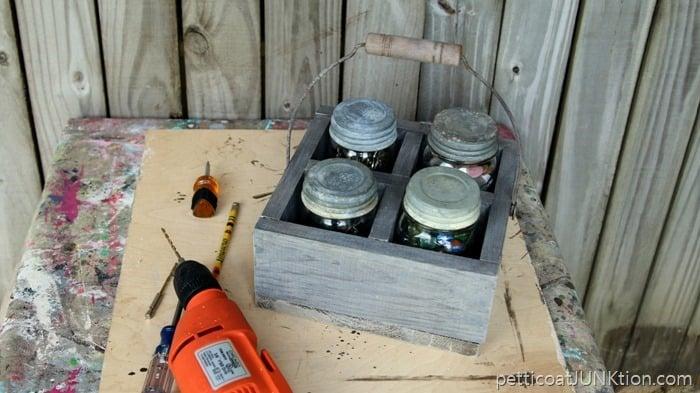 reclaimed bucket handle for barnwood caddy