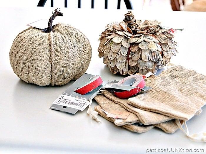 Budget burlap buys pumpkins and burlap bags